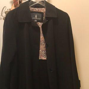 Nice Black London Fog Full Length Coat Sz Medium